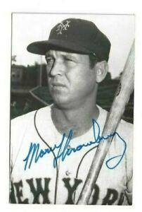 Marv Throneberry New York Mets Baseball Autographed Rowe B&W Postcard Photo