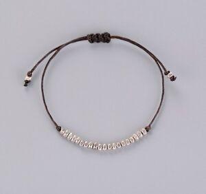 Simple Gold or Silver Brown Adjustable Beaded Cord Friendship Boho Bracelet