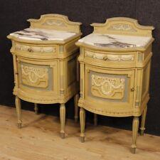Coppia di comodini laccati mobili tavolini legno marmo stile antico Luigi XVI