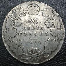 OLD CANADIAN COIN 1909 - 50 CENTS HALF DOLLAR - .925 SILVER - Edward VII