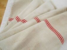 Vtg Antique RED STRIPE European HEMP LINEN Fabric FEED SACK GRAIN BAG 21X54