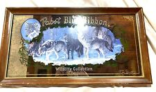 Vintage PABST Beer TIMBER WOLVES 1990 WIldlife Collection  Bar Mirror Sign