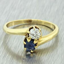 1920s Antique Art Deco 14k Solid Yellow Gold .30ctw Diamond Sapphire Bypass Ring