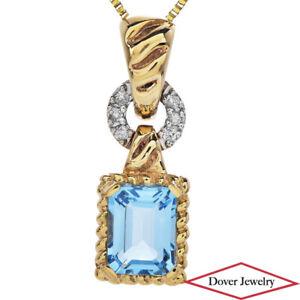 Estate Diamond Blue Topaz 14K Gold Elegant Dangle Pendant NR