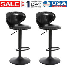Set of 2 Adjustable Bar Stools Leather Counter Height Swivel Dining Chair