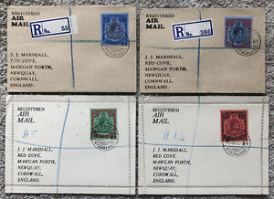 Lovely Set Of 4 Stamp Covers KGVI Nyasaland Air Mail Registered 2/- 2/6 10/- £1