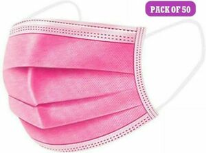 50 Pink Disposable Face Masks 3 Ply Face Covers Mask