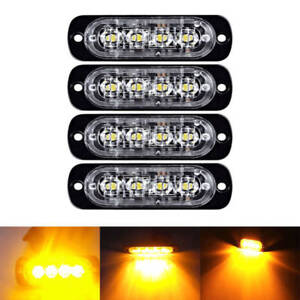 4 LED Flash Car Truck Emergency Light Bar Hazard Strobe Warning Lamp Candid