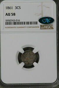 Nice Almost Uncirculated 1861 Three Cent Silver!!  NGC AU58CAC!!