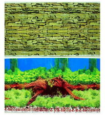 "Aquarium Fish Tank poster 20""H Background Double sided picture timber rock 10"