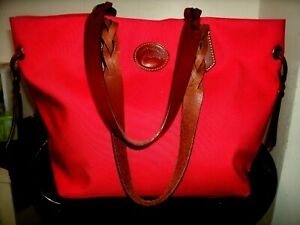 Dooney and Bourke Very Nice Large Red Nylon w/Tan Leather Trim Tote Shopper EUC!
