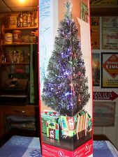 """HOLIDAY TIME 32"""" GREEN FIBER OPTIC CHRISTMAS TREE 100 TIPS INDOOR USE ONLY NIB"""