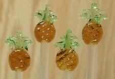 Set 4 small glass foodpicks swizzle sticks pineapples Fruits handmade stirrers