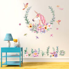 Unicorn Flower Removable Vinyl Decal Wall Sticker Art Mural Room Decor DIY