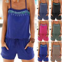 PLUS SIZE Womens Summer Holiday Mini Playsuit Ladies Jumpsuit Beach Shorts Dress