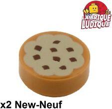 Lego - 2x Tile round decorated 1x1 Cookie gateau cake chocolat 98138pb014 NEUF