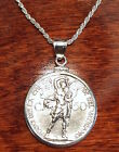 1934 Vatican St Michael the Archangel Coin Sterling Silver Pendant Necklace +Box