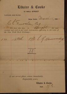 1910 Stock Acheter Réception, New York Exchange 100 Shares De Acier ~# 836B