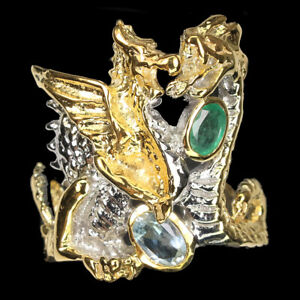 Unheated Oval Aquamarine Emerald 925 Sterling Silver Dragon Ring Size 9