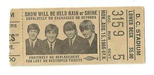 THE BEATLES D.C. STADIUM   CONCERT TICKET 8/15/66  LOWER DECK