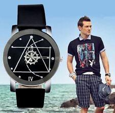 Reloj de pulsera para Hombre moda sport acero inoxidable de Cuero Regalo Negro