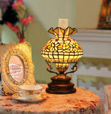Makenier Vintage Tiffany Style Stained Glass Oil-Lamp-Shaped Table Lamp