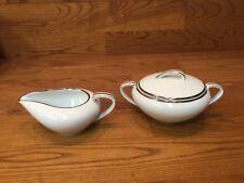 Vtg. Noritake SILVERDALE 5594 Creamer & Sugar Bowl White w/Platinum Trim
