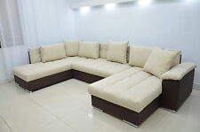 DOUBLE CHAISE CORNER SOFA BED ERIC,LARGE BEDDING PLACE,SILICONE CUSHIONS! BROWN