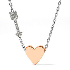 FOSSIL ROSE GOLD HEART+SILVER ARROW,WHITE CRYSTAL CHARM, NECKLACE JF01158998