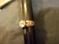 bling gold plated wedding finger cubic solitaire ring hip hop jewelry size 4.5