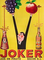 Affiche Originale - Rick Cursat - JOKER - Jus de Fruits - Mâcon - Raisins - 1955