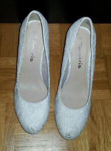 Tamaris Pumps Schuhe Größe 40 weiß Spitze Damen