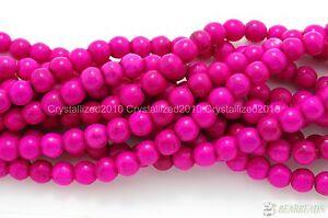 "Pink Howlite Turquoise Gemstone Round Beads 2mm 3mm 4mm 6mm 8mm 10mm 12mm 16"""