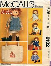 1980's VTG McCall's Annie Doll Clothes,Shoes&Tote Bag w/Tr Pattern 8132 Size 36""