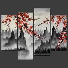 MOUNTAINS BLOSSOM ORIENTAL DESIGN CASCADE WALL HANGING CANVAS PRINT FREE UK P&P