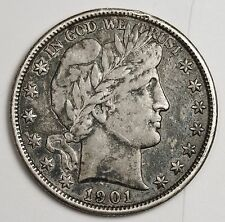 1901-p Barber Half.  A.U.  Needs expert conservation.  112692