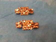 """Two Matching Vintage Pins Silver Tone With Clear Rhinestones .85"""" In Width"""