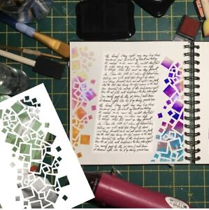 Cascading Blocks 190mic Mylar Stencil - For Mix Media Craft And Card Making.