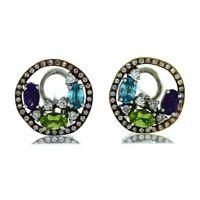 Vintage 18K White Rose Gold 0.88ctw Diamond Multi Stone Halo Cluster Earrings