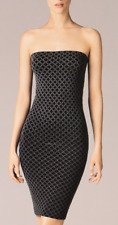 WOLFORD £155 WAVES TUBE DRESS- SEAMLESS-NEW  - LARGE - BLACK - PATTERNED-FITTED