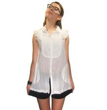 NEW TOM K NGUYEN White Cotton Tunic Blouse sz 4