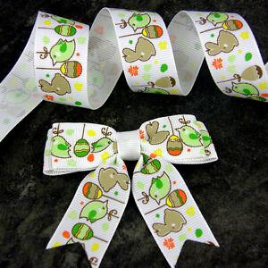"Easter Bows , Eggs & Bunnies grosgrain or 2m of Ribbon 7.5cm ( 3"")  x 10 pcs"