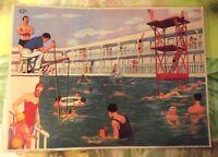 Objeto de Profesión Cartel Escolar 42x30 la piscina Deporte Tiempo libre año