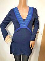 EAST navy blue v neck merino wool long jumper top size 12 Tunic