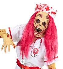 Ladies Red Zombie Nurse Wig Mask Hat Scary Halloween Dead Skeleton Fancy Dress