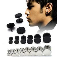 Mens Barbell Punk Stainless Steel Ear Studs Earrings Women Unisex Party Jewelry
