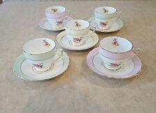5 ROSINA Queen Bone China Tea Cup & Saucer Sets Rose Floral Teacup England