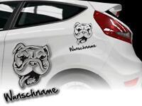 Bulldogge Aufkleber Sticker Hundeaufkleber Bulldog mit Wunschname fürs Auto