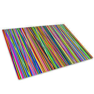 Colourful Stripe Funky Cool Glass Chopping Board Kitchen Worktop Saver