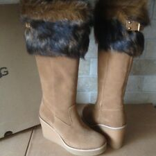 UGG VALBERG TOSCANA FUR CUFF CHESTNUT SUEDE WEDGE TALL BOOTS SIZE US 7 WOMENS